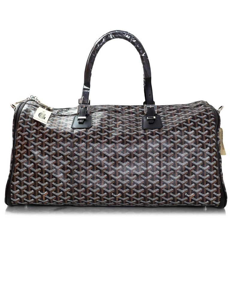 Goyard Black Chevron Croisiere 50 Duffle Travel Bag New In Excellent Condition For