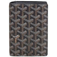 Goyard Black Coated Canvas Fabric Goyardine Long Wallet France w/ Box