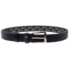 Goyard Black Goyardine Coated Canvas and Leather Buckle Belt 95CM