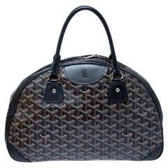 Goyard Black Goyardine Coated Canvas and Leather St. Jeanne MM Bowler Bag