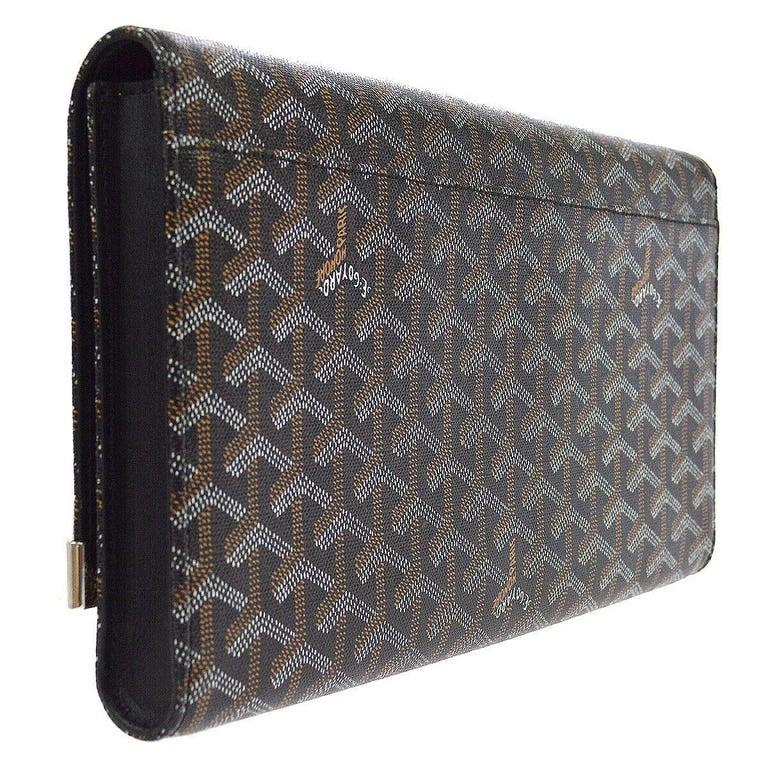 Gray Goyard Black Monogram Canvas Bamboo Silver Evening Envelope Clutch Bag in Box For Sale