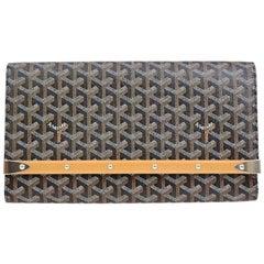 Goyard Black Monogram Canvas Bamboo Silver Evening Envelope Clutch Bag in Box