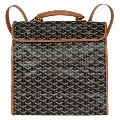 Goyard Black Tan Canvas Goyardine Saint-Leger Briefcase Backpack Bag