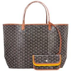Goyard Black with Tan Trim St Louis GM Chevron Tote Bag Chic