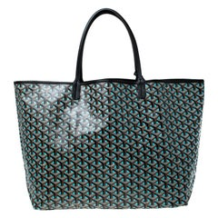 Goyard Blue/Black Goyardine Coated Canvas St. Louis GM Tote