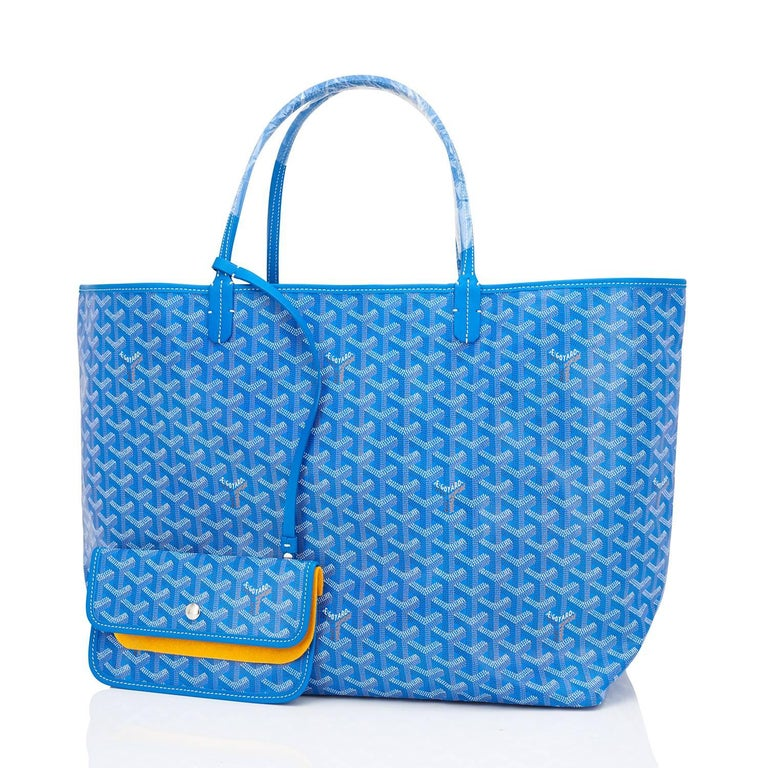 Goyard Bleu Claire St Louis GM Chevron Tote Bag  Brand New. Store Fresh. Pristine Condition (with plastic on handles)  Perfect gift! Comes with yellow Goyard sleeper and inner organizational pochette.  This is the famous Goyard Chevron Tote in the