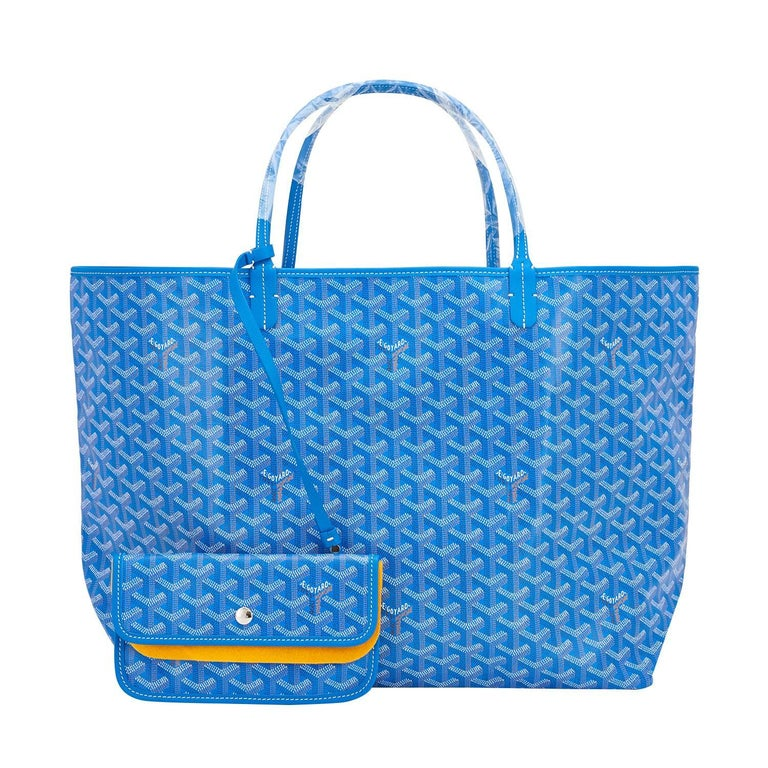 Goyard Blue Claire St Louis GM Chevron Tote Bag Celeb Favorite In New Condition For Sale In New York, NY