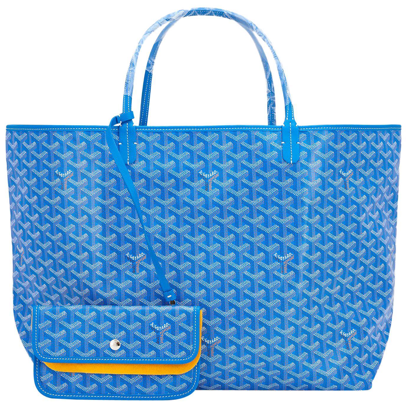 Goyard Blue Claire St Louis GM Chevron Tote Bag Celeb Favorite NEW, 2021