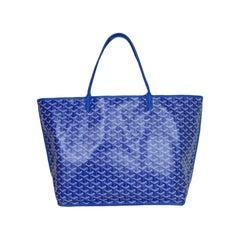 Goyard Blue Goyardine/Leather Anjou GM Reversible Tote Bag w/ Pouch rt $3,180