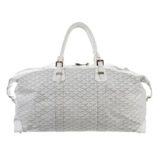 Goyard Chevron Boeing Duffle 15mz0114 White Coated Canvas Weekend/Travel Bag