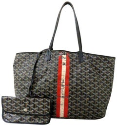 Goyard Chevron St Louis 223829 Black Canvas Tote