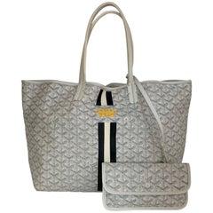 Goyard COLLECTORS White Goyardine Saint Louis PM Tote Bag w/ Stripe & Crown