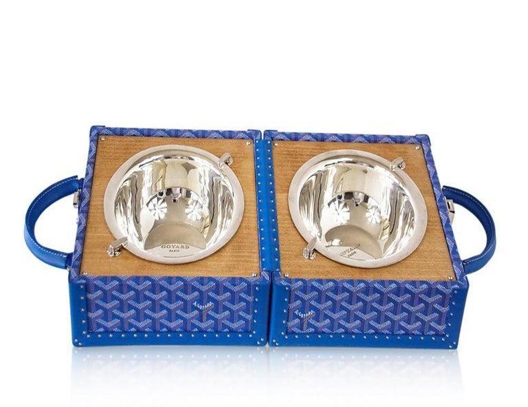 Goyard Dog Bowl Travel Trunk with Palladium Bowls   Limited Edition  1