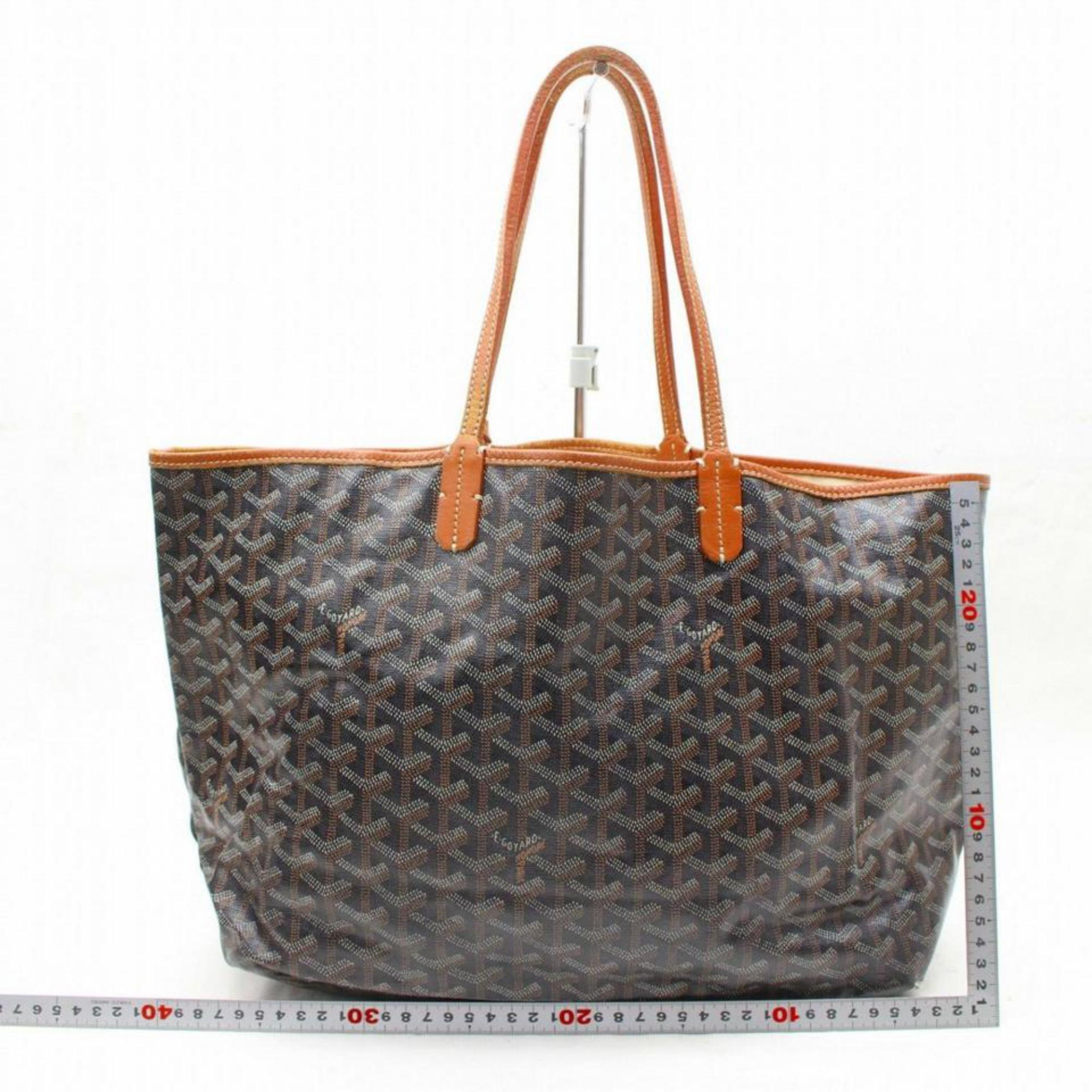 6bbd35c4dc7db3 Goyard Goyardine Chevron St Louis with Pouch 867951 Black Coated Canvas Tote  For Sale at 1stdibs