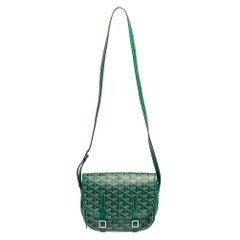 Goyard Green Goyardine Coated Canvas and Leather Belvedere PM Bag