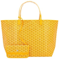 Goyard Jaune Yellow St Louis GM Chevron Tote Bag