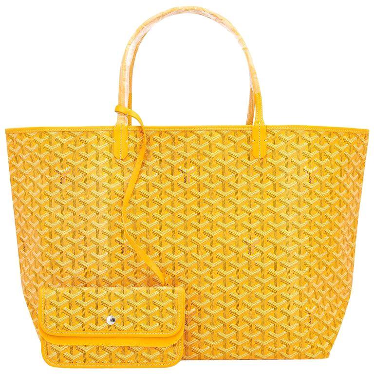 Goyard Jaune Yellow St Louis GM Chevron Tote Bag For Sale