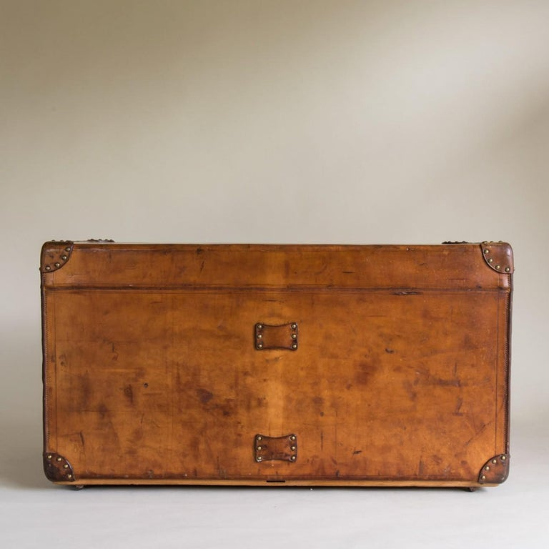 French Goyard Leather Steamer Trunk, circa 1910 For Sale