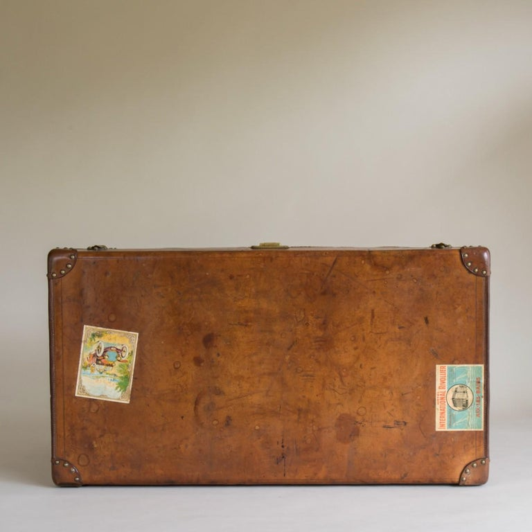 Goyard Leather Steamer Trunk, circa 1910 In Good Condition For Sale In London, GB