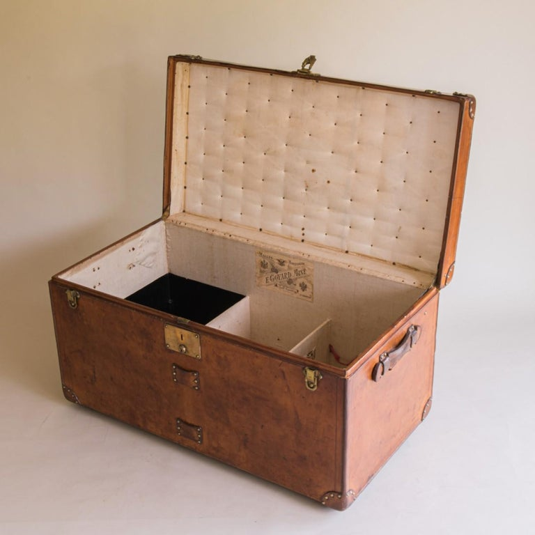 Early 20th Century Goyard Leather Steamer Trunk, circa 1910 For Sale