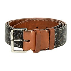 Goyard Men's Black Tan Goyardine Florida Belt sz 95