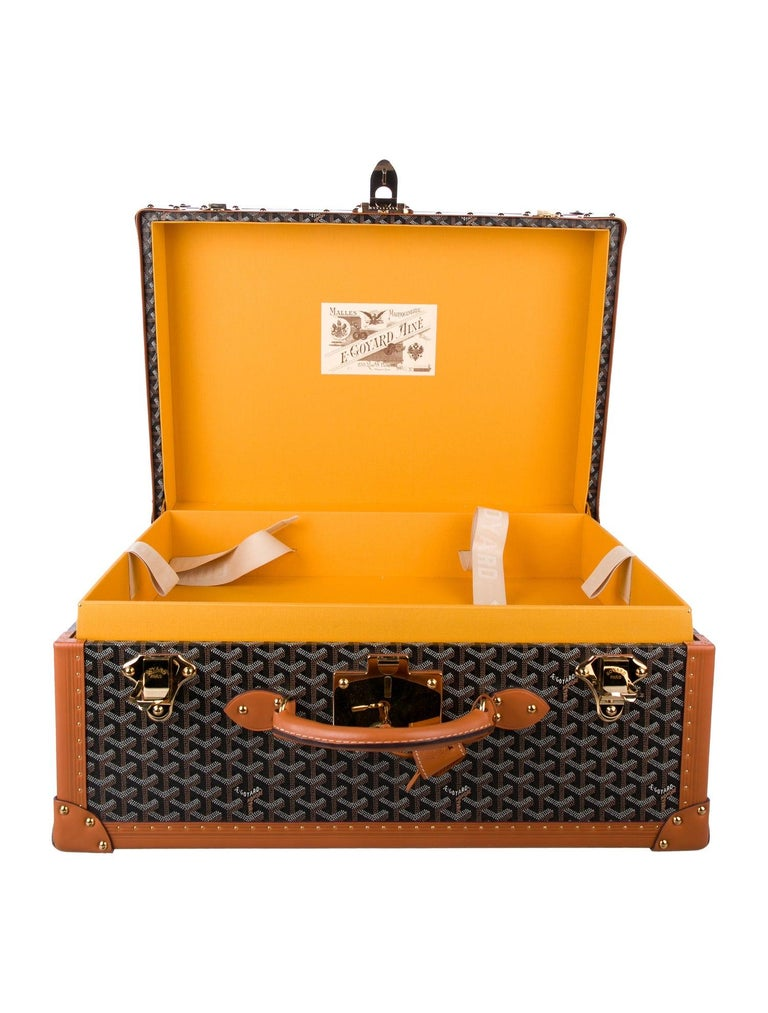 Goyard Monogram Canvas Cognac Leather Men's Trunk Travel Top Handle Suitcase Bag In Good Condition For Sale In Chicago, IL