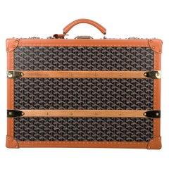 Goyard Monogram Canvas Cognac Leather Men's Trunk Travel Top Handle Suitcase Bag