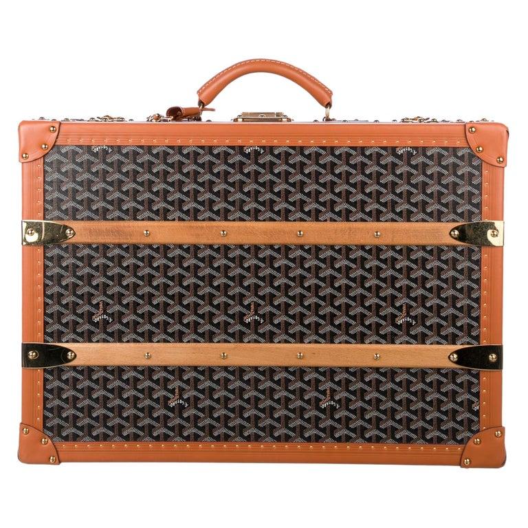 Goyard Monogram Canvas Cognac Leather Men's Trunk Travel Top Handle Suitcase Bag For Sale