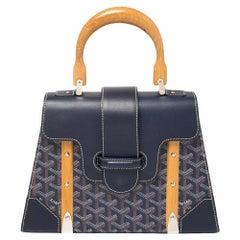 Goyard Navy Blue Goyardine Coated Canvas and Leather PM Saigon Top Handle Bag