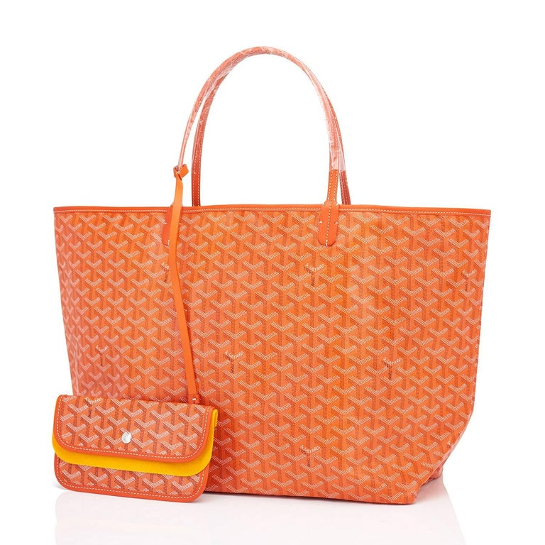 Goyard Orange St Louis GM Chevron Tote Bag  Brand New. Store Fresh. Pristine Condition (with plastic on handles)  Perfect gift! Comes with yellow Goyard sleeper, inner organizational pochette, and yellow protective felt. This is the famous Goyard