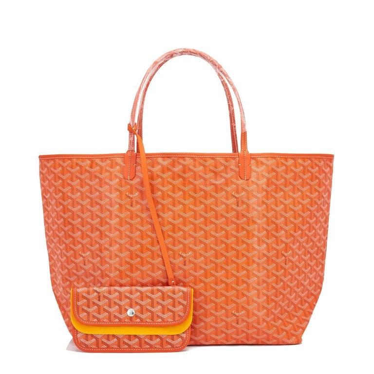 Goyard Orange St Louis GM Chevron Tote Bag  In New Condition In New York, NY
