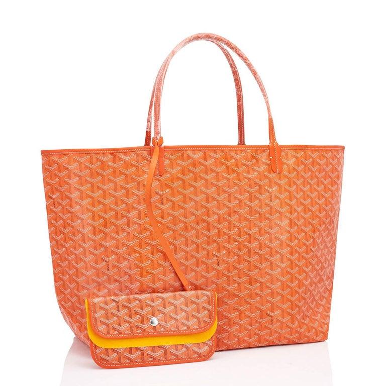 Women's or Men's Goyard Orange St Louis GM Chevron Tote Bag