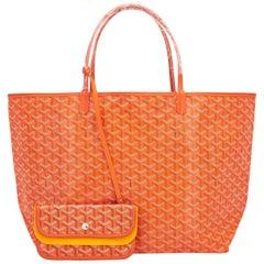 Goyard Orange St Louis GM Chevron Tote Bag
