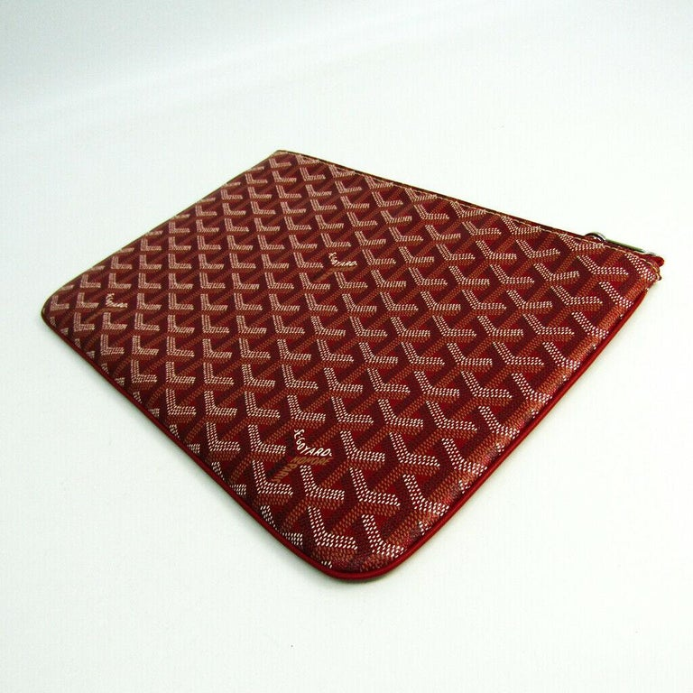 Goyard Red Monogram Canvas Zip Laptop Envelope Travel Business Clutch Bag in Box In Excellent Condition For Sale In Chicago, IL