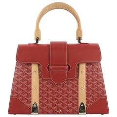 Goyard Saigon Top Handle Bag Coated Canvas with Leather MM