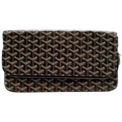 Goyard Sainte Marie Soft Clutch in Black Chevron 30cm