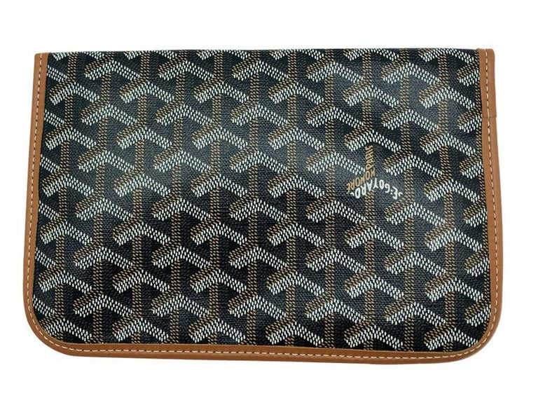 GOYARD Scarf with leather Pouch - Pink/Green For Sale 1