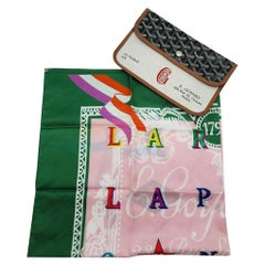 GOYARD Scarf with leather Pouch - Pink/Green