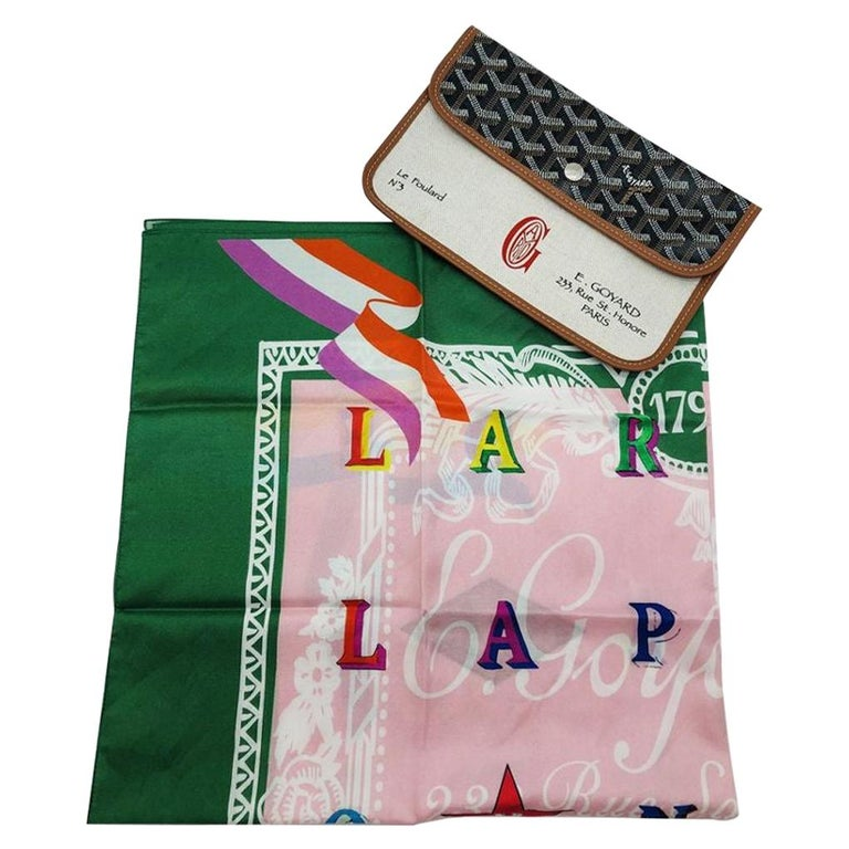 GOYARD Scarf with leather Pouch - Pink/Green For Sale