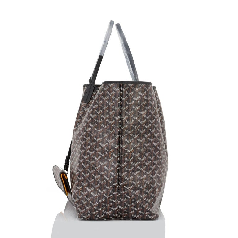 Goyard St Louis GM Tote Black Chevron Bag Chic In New Condition For Sale In New York, NY