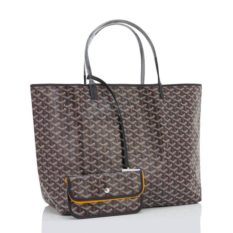 Women's or Men's Goyard St Louis GM Tote Black Chevron Bag Chic For Sale