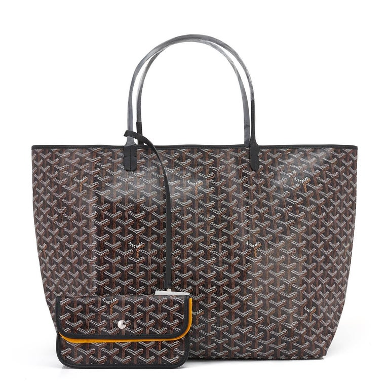 Goyard St Louis GM Tote Black Chevron Bag Chic For Sale 1