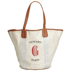 Goyard White Canvas Fabric Belharra Biarritz Tote Bag France w/ Dust Bag