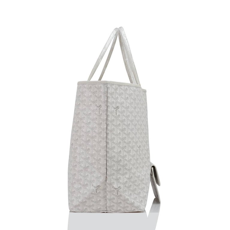 Goyard White St Louis GM Chevron Leather Canvas Tote Bag In New Condition For Sale In New York, NY