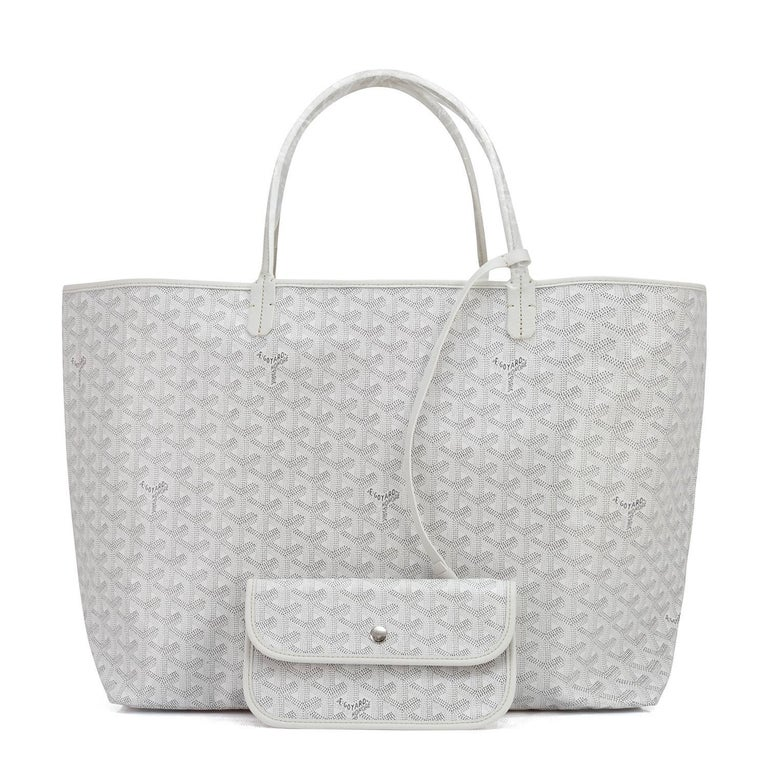 Goyard White St Louis GM Chevron Leather Canvas Tote Bag For Sale 1