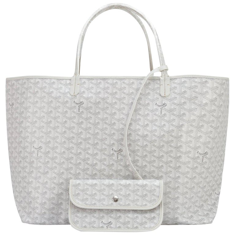 Goyard White St Louis GM Chevron Leather Canvas Tote Bag For Sale