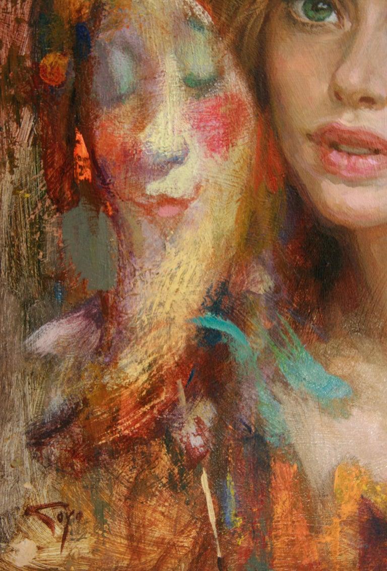 LUNA DE CARNAVAL GOYO DOMINQUEZ SPANICH CONTEMORARY ARTIST - Brown Portrait Painting by Goyo Dominguez
