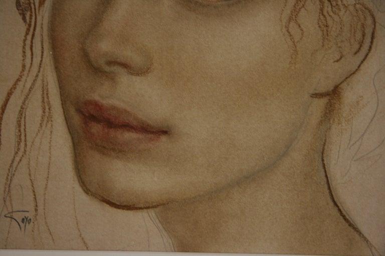 MIRADA GOYO DOMINQUEZ contemporary Spanish artist Realist Romantic - Brown Portrait Painting by Goyo Dominguez