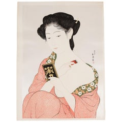 Goyo Hashiguchi, Mirror, Original Japanese Woodblock Print, Beauty, Shin Hanga