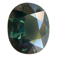 GRA Certified 1.67ct Green Sapphire Oval Cut Rare Loose Gem